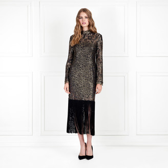 Rachel Zoe Hunter Metallic Lace Fringe-Hem Dress