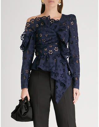 Self-Portrait Asymmetric circle floral frill broderie-anglaise top