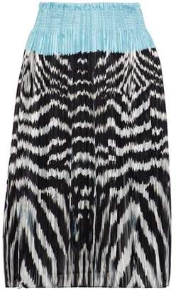 Roberto Cavalli (ロベルト カヴァリ) - Roberto Cavalli Pleated Printed Silk-Chiffon Skirt