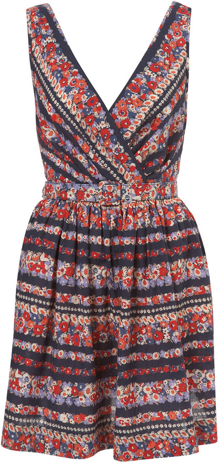 Navy Floral Stripe Belt Dress