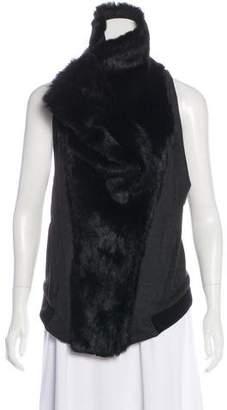 Helmut Lang Fur Accented Zip Up Vest