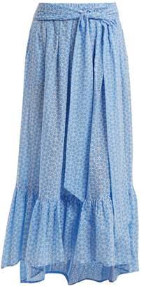 Lisa Marie Fernandez Floral-embroidered cotton skirt