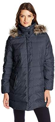 Fleet Street Ltd. Women's Classic Down Coat with Faux-Fur Hood