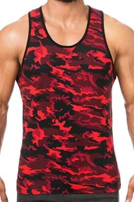 d4ae1b914d6a6 BU2H-Men BU2H Men Muscle Fit Camouflage Tank Tops Summer Cotton Sleeveless  Shirts US M
