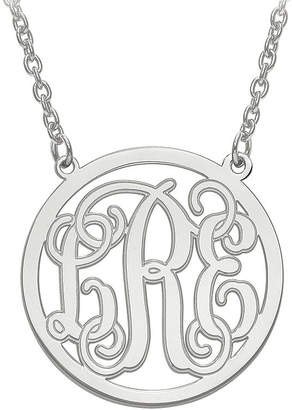 FINE JEWELRY Personalized Initial Etched Outline Monogram 26mm Circle Pendant Necklace