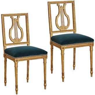 Rejuvenation Pair of Gilt Louis XVI Lyre Back Side Chairs w/ Teal Velvet