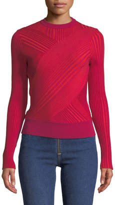 Cédric Charlier Crewneck Asymmetric-Striped Wool Sweater