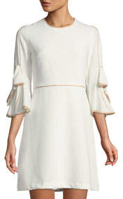 Bow-Sleeve Piped A-Line Dress
