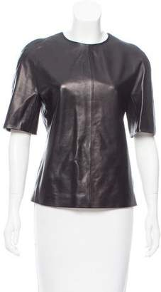 Calvin Klein Collection Leather Short Sleeve Top