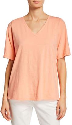 Eileen Fisher Short-Sleeve V-Neck Organic Cotton Slub Jersey Tee