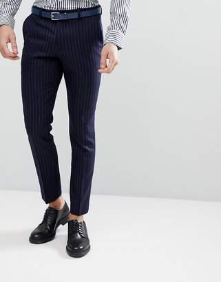 Moss Bros Skinny Suit Pants In Pinstripe