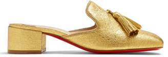 Christian Louboutin Barry 35 Tasseled Grained Leather Mules - Womens - Gold