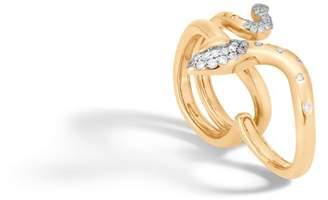 John Hardy Cobra Two Fingers Ring With Diamonds