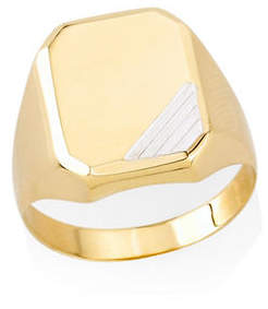Tag Heuer FINE JEWELLERY 10K Two-tone Gold Rectangular Signet Ring