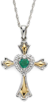 JCPenney FINE JEWELRY Lab-Created Emerald & White Sapphire Two-Tone Cross Pendant Necklace
