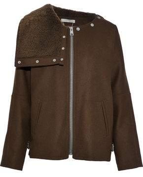Vanessa Bruno Shearling-Paneled Wool-Blend Jacket