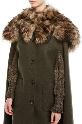 Michael Kors Single-Breasted Button-Front Long Wool Cape Coat and Matching Items