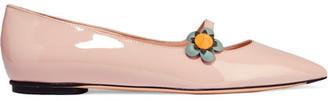 Fendi - Appliquéd Patent-leather Point-toe Flats - Pastel pink $600 thestylecure.com