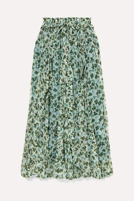 Lee Mathews - Nina Ruffled Floral-print Silk-crepon Maxi Skirt - Green