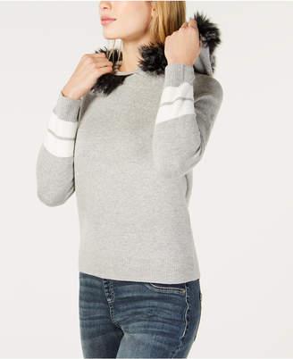 INC International Concepts I.n.c. Hooded Faux-Fur Trim Sweater