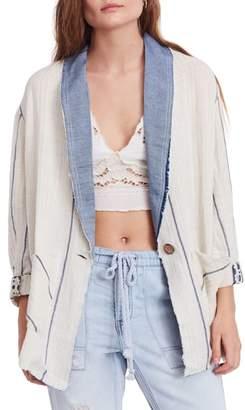 Free People Aria Denim Collar Blazer