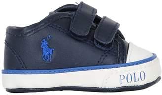 Ralph Lauren (ラルフ ローレン) - Ralph Lauren Childrenswear Embroidered Logo Nappa Leather Sneakers