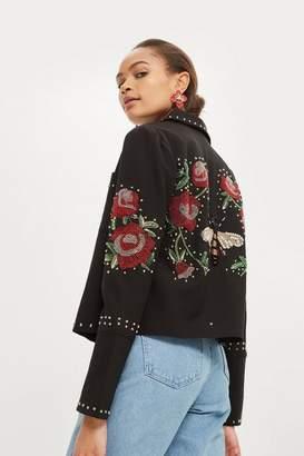 Topshop Sequin Embellished Jacket