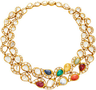 """Amrapali 18K Gold"""" Silver Multi-Stone Necklace And Earring Set"""