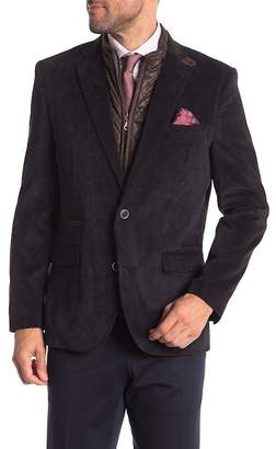 English Laundry Black Micro Corduroy Bib Two Button Notch Lapel Trim Fit Blazer
