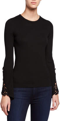 Catherine Malandrino Ribbed Long-Sleeve Lace Bell-Cuff Top