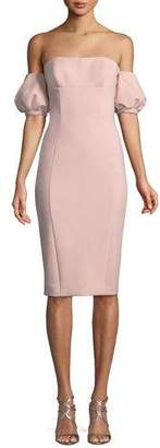 Misha Nala Scuba Dress w/ Puff Sleeves