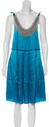 3.1 Phillip Lim Rhinestone Accent Silk Dress