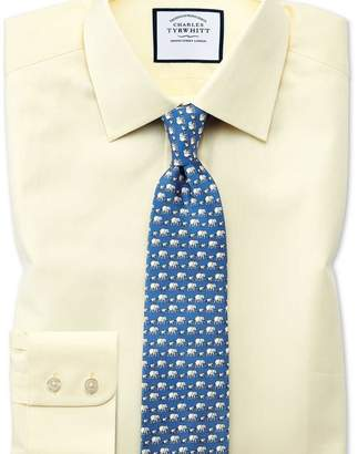 Charles Tyrwhitt Slim fit fine herringbone yellow shirt