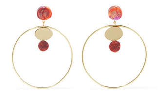 Dinosaur Designs Circle Dot Gold-tone Resin Hoop Earrings - One size