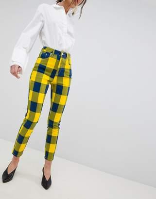 Asos DESIGN Farleigh High Waist Slim Mom Jeans In Yellow Check