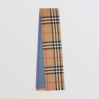 Burberry Colour Block Check Merino Wool Scarf
