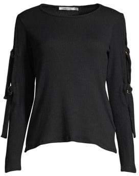 Red Haute Belt-Sleeve Sweater