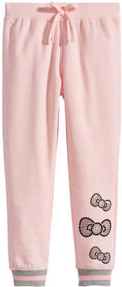 Hello Kitty Little Girls Sequin Bow Fleece Jogger Pants