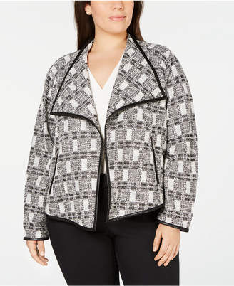 Calvin Klein Plus Size Plaid Tweed Open-Front Jacket