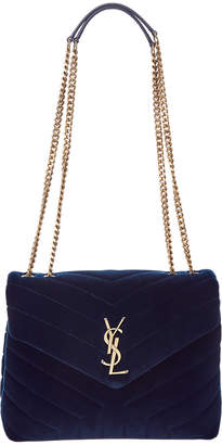 Saint Laurent Loulou Small Matelasse Y Velvet Shoulder Bag