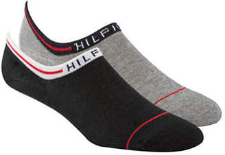 Tommy Hilfiger Two Pack Logo Cuff No Show Ankle Socks