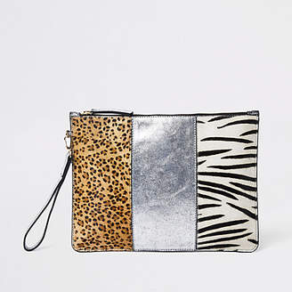 River Island Beige animal print panel pouch bag