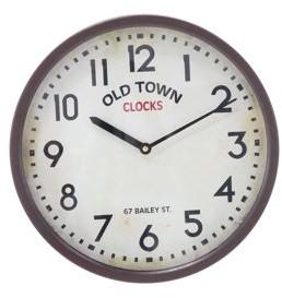 BEIGE DecMode Decmode Modern Metal Round Brown Old Town Wall Clock,