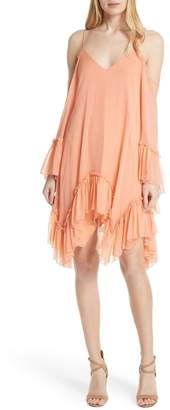 Alice + Olivia Ilaria Ruffle Cold Shoulder Silk Dress