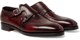 John Lobb Sennen Burnished-Leather Monk Strap Shoes - Men - Burgundy