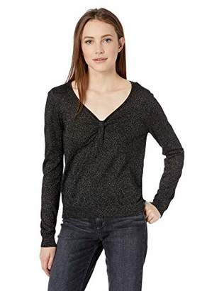 Milly Women's Knit Long Sleeve Shimmer Twist Front Pullover