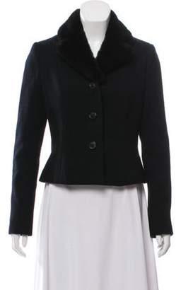 Ralph Lauren Notch-Lapel Fur-Trimmed Blazer Black Notch-Lapel Fur-Trimmed Blazer