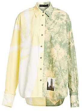 Proenza Schouler Women's Long Sleeve Tie-Dye City Shirt - Size 0