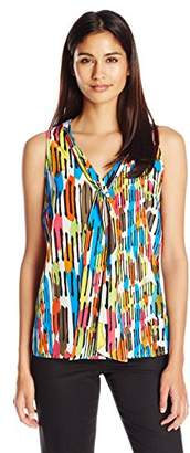 Kasper Women's Printed Crepe Tie Neck Cami