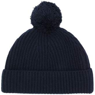 Closed ribbed pompom hat